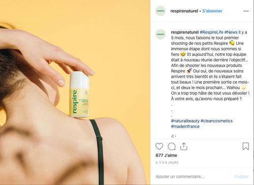 Post Instagram de la marque Respire