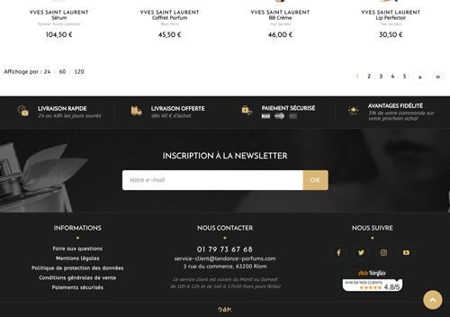 Capture d'écran du bandeau de réassurane du site tendances-parfums.com .