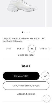 Capture d'écran de CTA secondaires sur le site de Dior