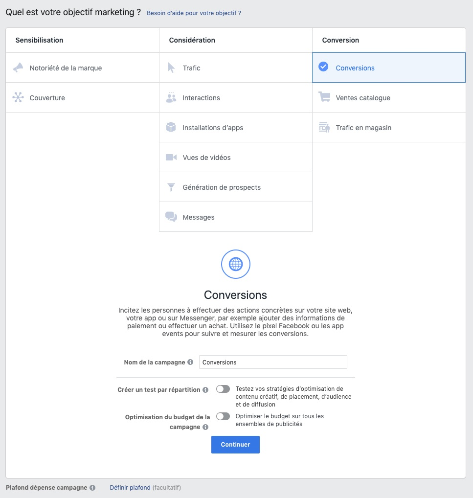 Capture d'écran du type de campagnes de conversion dans le Facebook Business Manager.