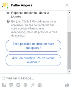 Capture d'écran du chatbot de messenger du Pathé Angers