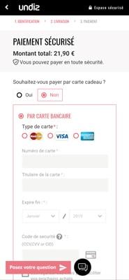 Capture d'écran du site Undiz au moment de payer