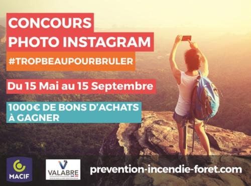 Capture d'écran du jeu-concours Instagram pour la prévention incendie forêts.