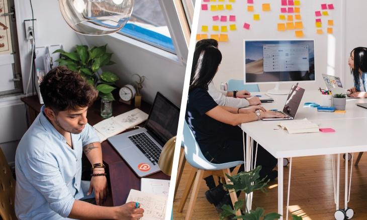 Une photo d'un freelance et une photo d'une agence digitale assemblées.