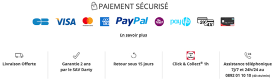 Capture d'écran du bandeau de réassurance du site e-commerce de Darty.