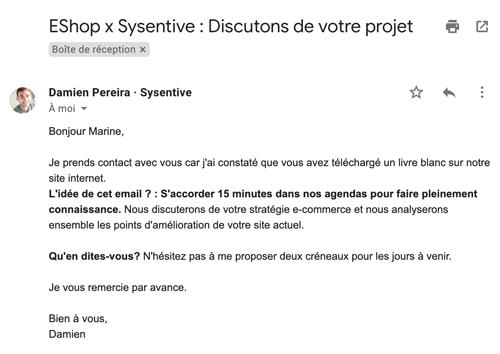 Capture d'écran d'un e-mail envoyé suite au téléchargement d'un livre blanc.