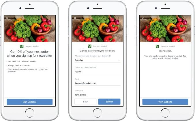 Exemple d'une publicité Facebook à formulaire sur mobile.