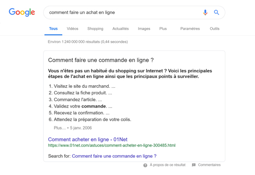 Capture d'écran d'un featured snippet liste