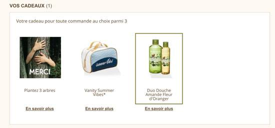 Capture d'écran des cadeaux fidélité proposés par Yves Rocher sur leur site internet.