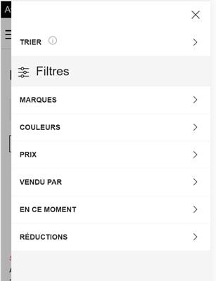 Capture d'écran des filtres de recherche sur le site mobile La Redoute