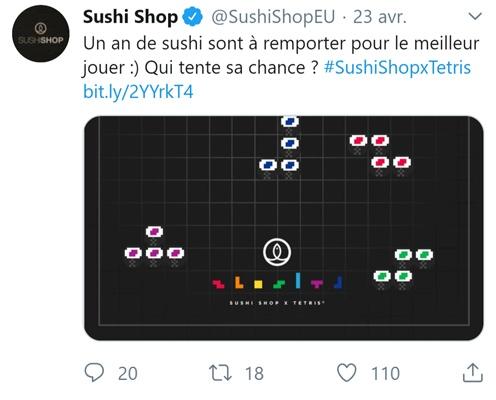 Capture d'écran du jeu-concours interactif de Sushi Shop et Tétris
