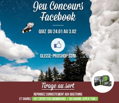 Capture d'écran d'un jeu-concours quiz sur Facebook.