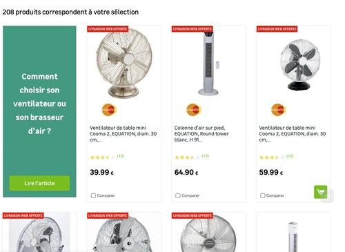 Capture d'écran d'une liste de produits avec livraison offerte sur le site de Leroy Merlin.