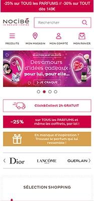 Capture d'écran du site e-commerce Nocibé