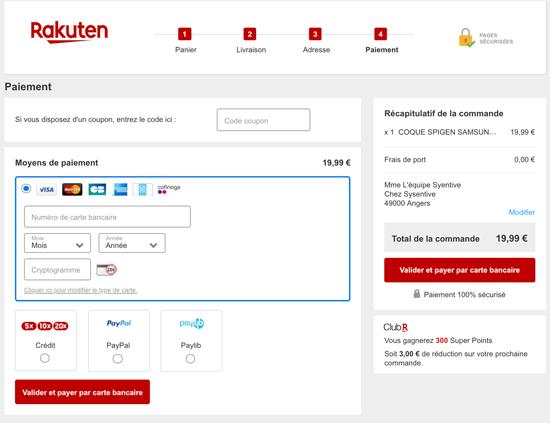 Capture d'écran de la page de paiement du site de vente en ligne Rakuten.