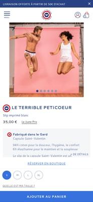 Capture d'écran du site Le Slip Français