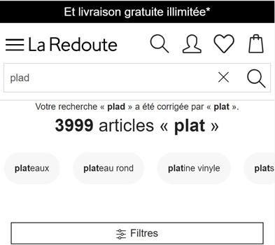 Correction d'orthographe dans la barre de recherche du site web La Redoute