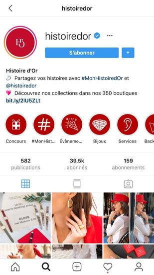 Profil Instagram d'Histoire d'Or