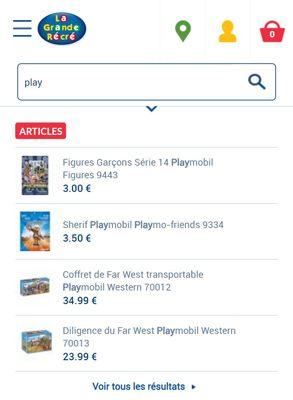 Capture d'écran du site mobile La Grande Récré