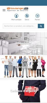 Capture d'écran du site web de Boulanger pro